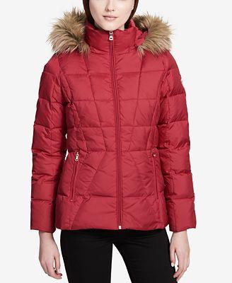 Calvin Klein Petite Faux-Fur-Lined Down Coat - Women - Macy's