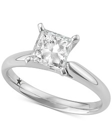 Macy's Star Signature Diamond™ Princess Cut Solitaire Engagement Ring (1-1/2 ct. t.w.) in 14k White Gold