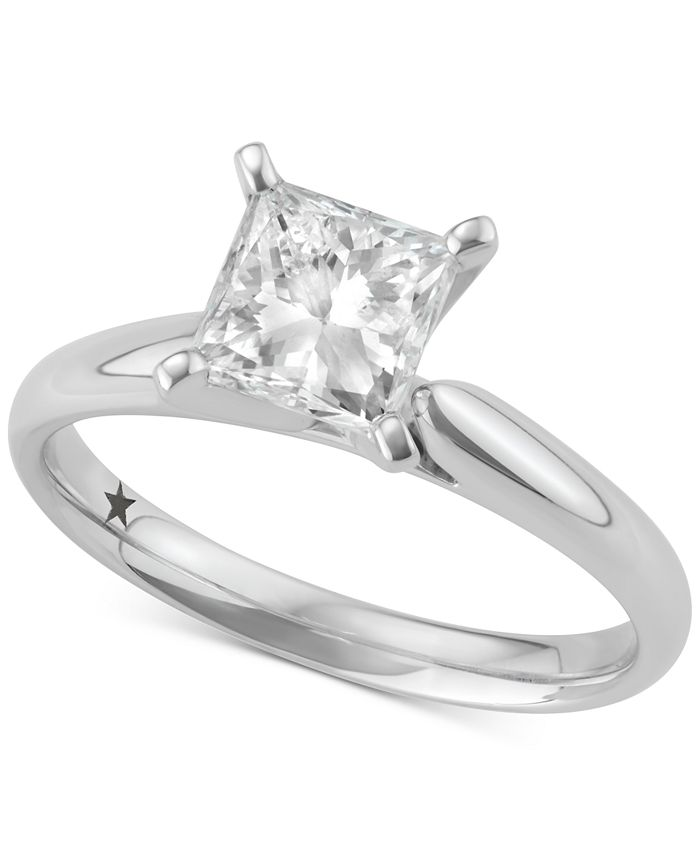 Macy's Star Signature Diamond - Certified ™ Solitaire Engagement Ring (1-1/2 ct. t.w.) in 14k White Gold