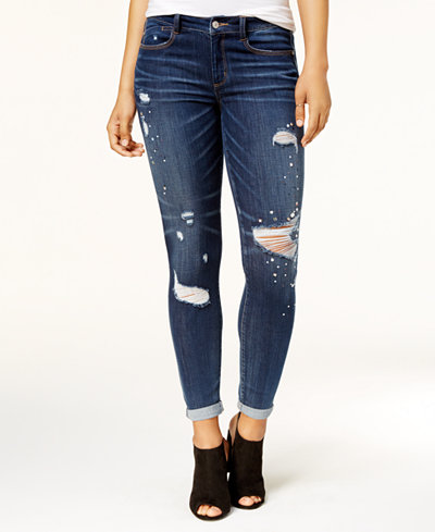 Rewash Juniors' Embellished Ripped Skinny Jeans