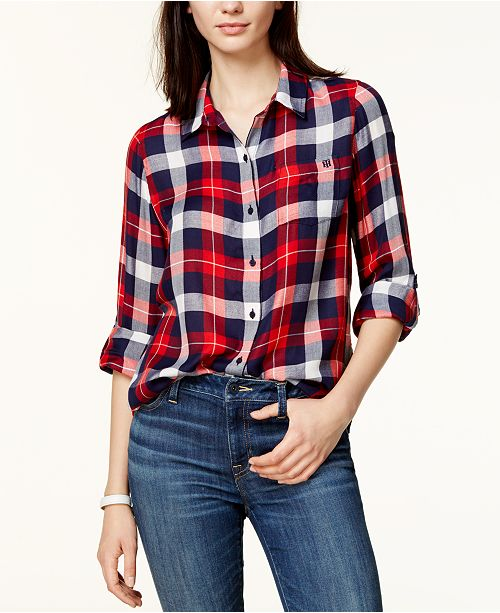 f22f7c330 Tommy Hilfiger Plaid Utility Shirt, Created for Macy's & Reviews ...