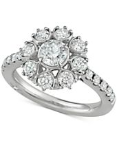Marchesa Diamond Floral Engagement Ring (1-5/8 ct. t.w.) in 18k White Gold, Created for Macy's