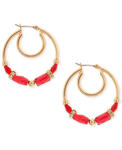 Nine West Gold-Tone Beaded Hoop Earrings