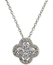 Giani Bernini Cubic Zirconia Halo Cluster Pendant Necklace, Created for Macy's