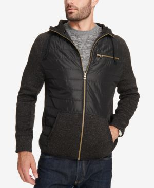 Weatherproof Vintage Men's Mix-Media Quilted Hooded Jacket, Created for Macy's 4925773