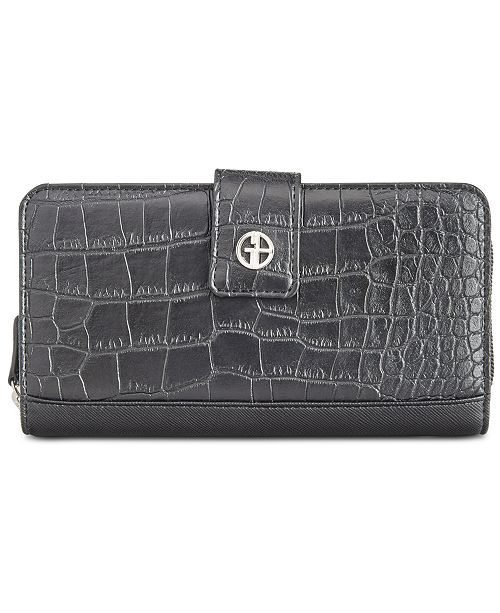 Giani Bernini Croc-Embossed Saffiano Zip-Around Wallet, Created for Macy's