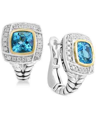 Balissima by EFFY® Blue Topaz (2-1/2 ct. t.w.) & Diamond (1/6 ct. t.w.) Drop Earrings in Sterling Silver & 18k Gold