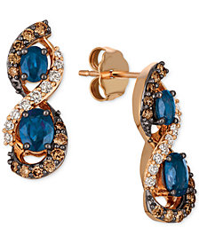 Le Vian Chocolatier® Blueberry Sapphire™ (1-1/8 ct. t.w.) & Diamond (5/8 ct. t.w.) Drop Earrings in 14k Rose Gold