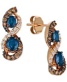 Le Vian Chocolatier® Blueberry Sapphire™ (1-1/8 ct. t.w.) & Diamond (5/8 ct. t.w.) Drop Earrings in 14k Rose Gold
