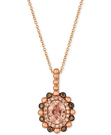 Le Vian® Peach & Nude™ Peach Morganite™ (7/8 ct. t.w.) & Diamond (1/4 ct. t.w.) Pendant Necklace in 14k Rose Gold