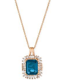 Le Vian® Deep Sea Blue Topaz™ (3-1/3 ct. t.w.) & Diamond (1/3 ct. t.w.) Pendant Necklace in 14k Rose Gold