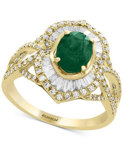 Brasilica by EFFY® Emerald (1-1/8 ct. t.w.) & Diamond (5/8 ct. t.w.) Ring in 14k Gold