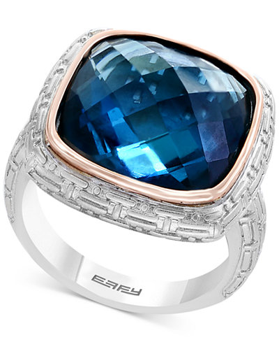 Balissima by EFFY® London Blue Topaz Ring (12 ct. t.w.) in Sterling Silver & 18k Rose Gold