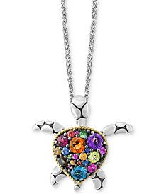 Balissima by EFFY® Multi-Gemstone Turtle Necklace (2 ct. t.w.) in Sterling Silver