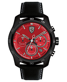 Ferrari Men's Chronograph Primato 70th Anniversary Black Nylon Canvas Strap Watch 44mm