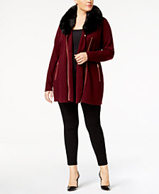 Belldini Plus Size Faux-Fur-Trim Cardigan