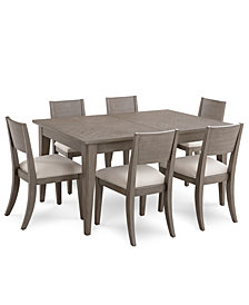 Tribeca Grey Expandable Dining Furniture, 7-Pc. Set (Dining Table & 6 Side Chairs), Created for Macy's