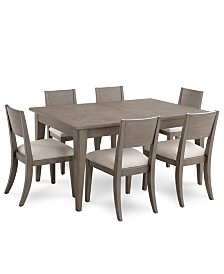 tribeca grey expandable dining furniture 7 pc set dining table 6 - Dining Set Furniture