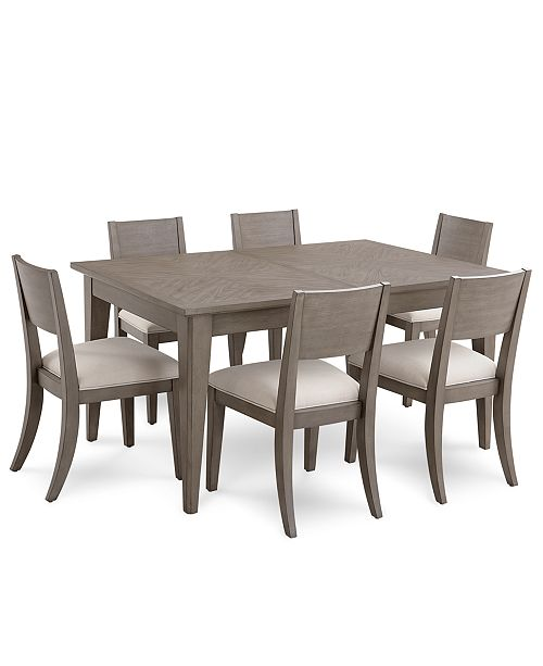 Tribeca Grey Expandable Dining Furniture, 7-Pc. Set (Dining Table & 6 Side  Chairs), Created for Macy\'s