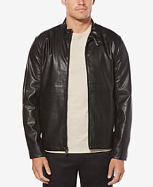 Perry Ellis Men's Faux Leather Full-Zip Bomber Jacket