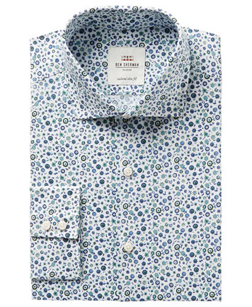 Ben Sherman Men's Slim-Fit Blue & Green Floral Print Dress Shirt ...