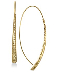Textured Crossover Drop Earrings in 10k Gold
