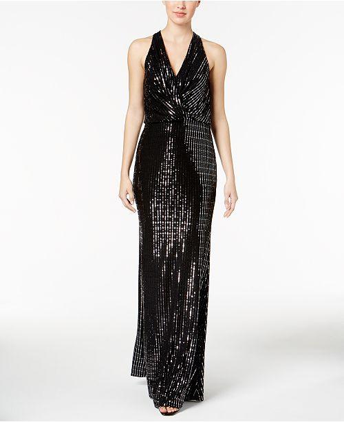 Calvin Klein Sequined Halter Gown