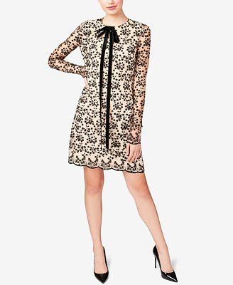 Betsey Johnson Lace Tie-Neck Shift Dress