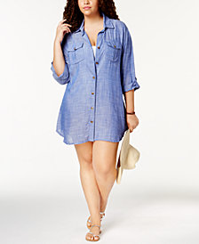 Dotti Plus Size Cotton Cabana Life Shirtdress Cover-Up