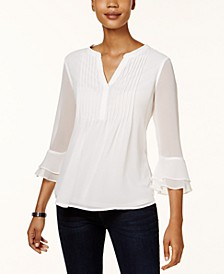 Petite Double Ruffle Solid Pintuck Top, Created for Macy's