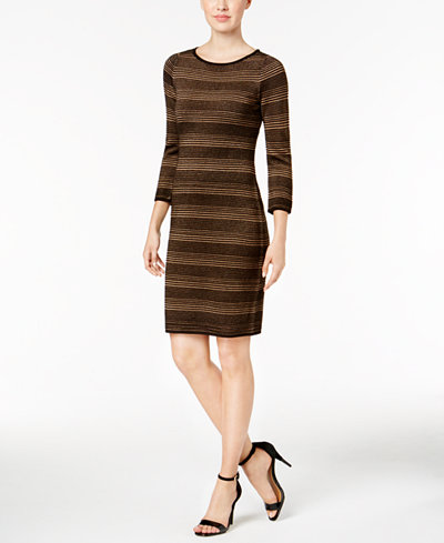 Calvin Klein Metallic Striped Sweater Dress, Regular & Petite Sizes