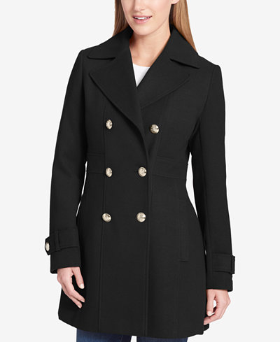 Tommy Hilfiger Double-Breasted Skirted Peacoat