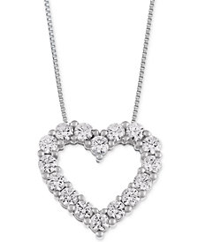 Macy's Star Signature Diamond™ Heart Pendant Necklace (1 ct. t.w.) in 14k Gold or White Gold