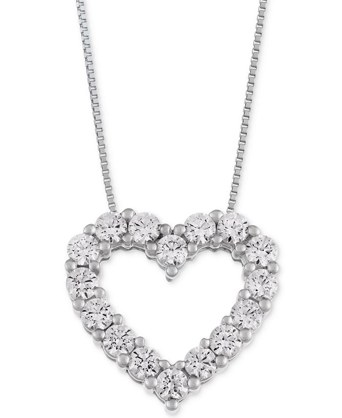 Macy's Star Signature Diamond - Certified ™ Heart Pendant Necklace (1 ct. t.w.) in 14k Gold or White Gold