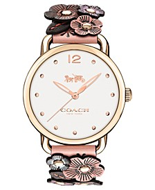 Women's Rose Floral Leather Strap Watch 36mm