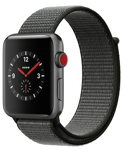 Apple Watch Series 3 (GPS + Cellular), 42mm Space Gray Aluminum Case with Dark Olive Sport Loop