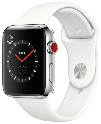 Apple Watch Series 3 (GPS + Cellular), 42mm Stainless Steel Case with Soft White Sport Band