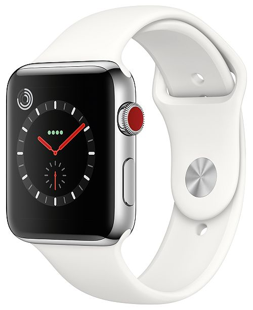 fef908464 ... Apple Watch Series 3 (GPS + Cellular), 42mm Stainless Steel Case with  Soft ...