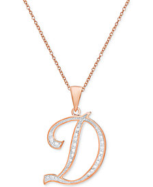 """Diamond Accent Script Initial 18"""" Pendant Necklace in Silver Plate, Gold Plate & Rose Gold Plate"""