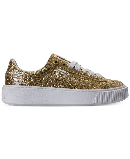 bcf40abcc0c101 ... Puma Women's Basket Platform Glitter Casual Sneakers from Finish ...