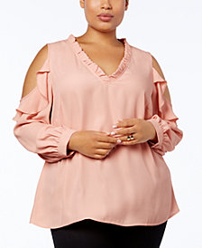 Love Scarlett Plus Size Ruffled Cold-Shoulder Top