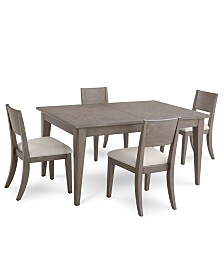 Tribeca Grey Expandable Dining Furniture, 5-Pc. Set (Dining Table & 4 Side Chairs), Created for Macy's