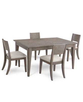 Tribeca Grey Expandable Dining Furniture, 5 Pc. Set (Dining Table U0026 4