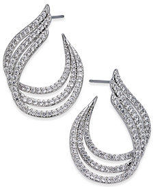 Danori Silver-Tone Pavé Triple Hoop Earrings, Created for Macy's