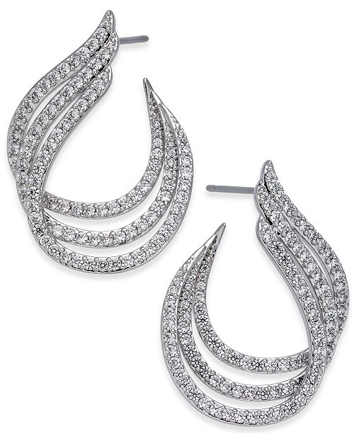 Danori Silver-Tone Pavé Triple Hoop Earrings, Created for Macy's