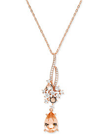 Danori Rose Gold-Tone Teardrop Stone & Cluster Pendant Necklace, Created for Macy's