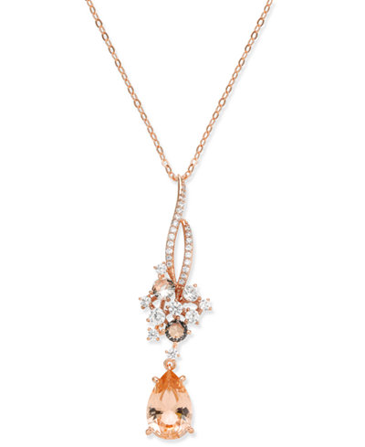 Danori Rose Gold-Tone Teardrop Stone & Cluster Pendant Necklace, Created for Macy's