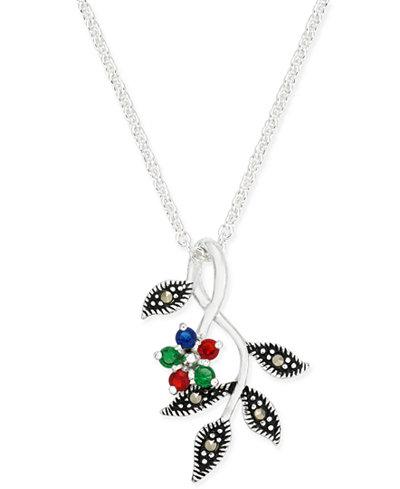 Cubic Zirconia & Marcasite Pendant Necklace in Fine Silver-Plate