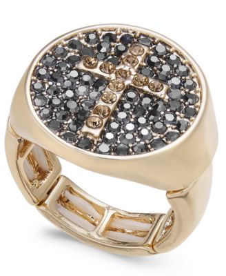 Gold-Tone Pavé Cross Stretch Ring, Created for Macy's