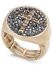 Thalia Sodi Gold-Tone Pavé Cross Stretch Ring, Created for Macy's